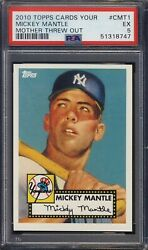 2010 Topps Cmt1 Mickey Mantle Mother Threw Out Psa 5 Mlb - Ships F Can And Usa