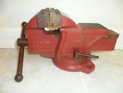 Vintage Sears Bench Vise 4 Old Red Cast Iron Craftsman With Swivel And Lock