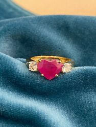 2.90 Cts Round Brilliant Cut Diamonds Heart Ruby Wedding Ring In 750 18k Gold