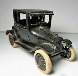 1920's Arcade Cast Iron Two Door Black Ford Model T Coupe - Hubley