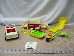 Vintage Fisher Price Little People Family Car Pop Up Camper 992 D Boat Cycle