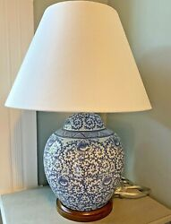 Porcelain Blue And White Floral Asian Ginger Jar Table Lamp 24andrdquo New