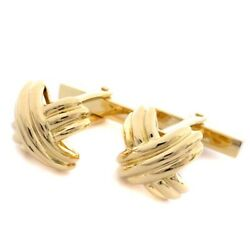 Cufflinks Signature Yellow Gold K18 13x13mm Mens With Box Used Polished