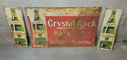 G2- 3 Vintage Crystal Rock Ginger Ale Tin Signs Soda General Store Signs