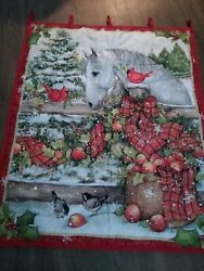 HOME MADE Holiday Wall Hanging Quilt w WHITE HORSE APPLES RED PLAID BOWS