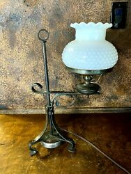 Antique Arts And Crafts Student Table Lamp Vintage Bankers Desk Light W Shade