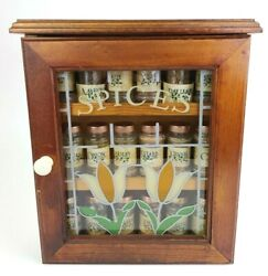 Vintage Wood Spice Box Wall Cupboard W/stained Glass Door And Jars Pantry Cabinet