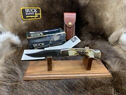 1989 Buck 110 Knife With Stag Handle And Damascus Blade And Sheath Mint In Box - A