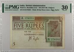 India ... P-4c ... 5 Rupees ... Nd1917-30 ... Pmg 30 Vf / Very Fine
