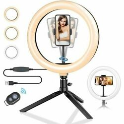 10 Selfie Led Ring Light With Tripod Stand Phone Holder For Live Stream/makeup