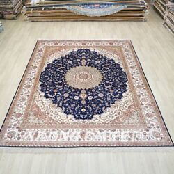8and039x10and039 Oversize Handmade Silk Rug Blue Home Office Oriental Carpet Zw183c