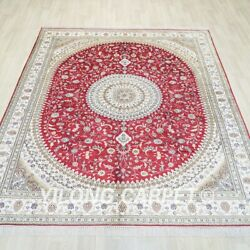 8and039x10and039 Handknotted Silk Red Rug Traditional Home Interior Floral Carpet Wy359c
