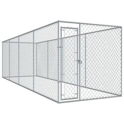 Backyard Dog Kennel Outdoor Pet Pen Chain Link Fence Large Cage 299x75.6x72.8