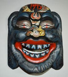 Chinese Ancient Ethnic Minority Sacrifice Tool Carved Wooden Mask Color Painting