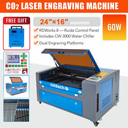 60w 16x24 40x60cm Co2 Laser Engraving Cutter Engraver With 3000 Water Chiller