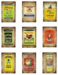 Old Kitchen Spice Tins And More Cotton Fabric Quilt Block 9 Images @ 2x3 Each