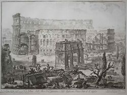 Giovanni Piranesi Rare Roman Etching Arch Of Constantine And The Colosseum Nice