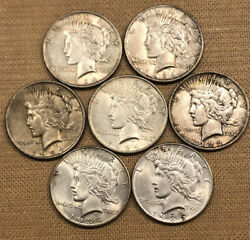 Lot Of 7 Peace Silver Dollars Featuring Two Bu 1935 Date. Great Lot Of Coins