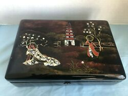 Vtg Japanese Black Lacquer Mother Pearl Inlay Abalone Jewelry Box W/ Lock And Key