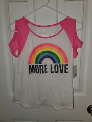 NEW MORE LOVE Cold Shoulder Girls Shirt Top Shirt Size 12 NWT $7.00