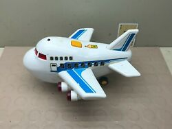 Vintage White Plastic Toy Airplane Lights Sounds Moving Parts
