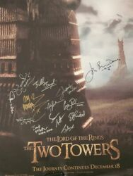 Lord Of The Rings Lotr Ttt Two Towers Signed Poster 13 Cast Members Bas Beckett