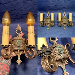Rare Two Arm Sconces Beautiful Finish Very Detailed Rewired Lights 121f