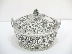 6 In - Sterling Silver S. Kirk And Son Antique Floral Repousse Butter Dish