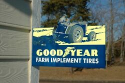 Old Style Goodyear Tire And Rubber Farm Implement Tractor Diecut Steel Flange Sign