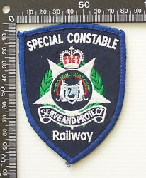Vintage Transit Police Railway Constable Embroidered Patch Cloth Sew-on Badge