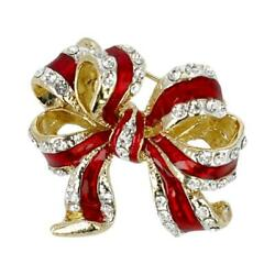 Goebel Brooch Bow Red-silver, Fitz And Floyd, Christmas, Metal Combo Colorful