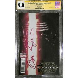 Star Wars Force Awakens 5 Photo Cover__cgc 9.8 Ss__signed By Adam Driver