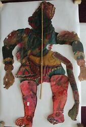 Antique Old Leather Shadow Puppet Folk Art Rare Piece For Collectibles Krishna