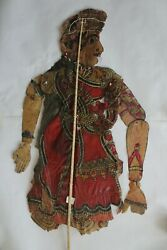 Antique Old Leather Shadow Puppet Folk Art Rare Piece For Collectibles Seeta