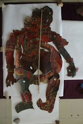 Antique Old Leather Shadow Puppet Folk Art Rare Piece For Collectibles Hanuman