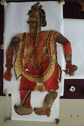 Antique Old Leather Shadow Puppet Folk Art Rare Piece For Collectibles Dharmraj