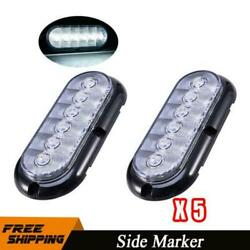 10x 6 Led 6 Oval White Stop Turn Signal Tail Marker Lights Sealed Surface Mount