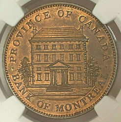 Canada Penny Token 1837 1842 Pc-2a1 City Bank Mule Normal Flan - Ngc Ms 63 Rb