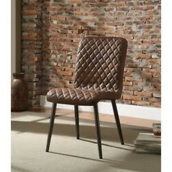 Saltoro Sherpi Dimond Patterned Faux Leather Upholstered Metal Side Chair, Set