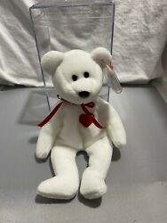 Rare Valentino The Teddy Bear Beanie Baby Tag Cover And Box Mint, With Errors