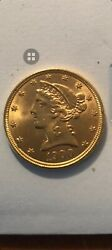 1900 Liberty Head Five Dollar Gold Coin Half Eagle Mint Condition