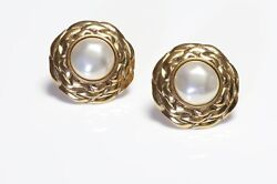 Vintage Paris 1980's Gold Plated Faux Pearl Camellia Flower Earrings
