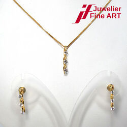 Set Necklace And Earrings - 750/18k Yellow - Diamonds Approx. 0,86ct - Si-g / H