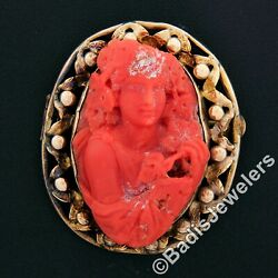 Large Antique Victorian Gia Carved Red Coral Cameo W/ 14k Gold Open Frame Brooch