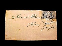 Confederate Homemade Cover W/pair 6 Stamps, Beautiful Newnan Ga Cds To Athens