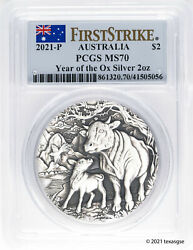 2021 Australia 2 Year Of The Ox 2oz Antiqued Silver Coin Pcgs Ms70 First Strike