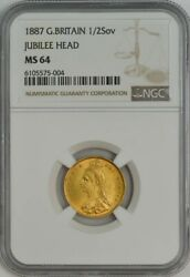1887 Great Britain 1/2 Gold Sovereign Jubilee Head Ms64 Ngc 944498-1