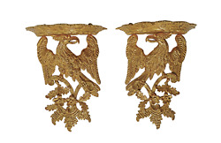 Exceptional Pair Antique 19th Century Carved Giltwood Wall Brackets