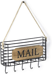 Sriwatana Mail Holder, Rustic Mail Organizer Wall Mount Hanging Mail Sorter With