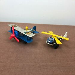 Pair Of Vintage Japan Lithograph Tin Toys - Wind Up Airplane - Police Helicopter